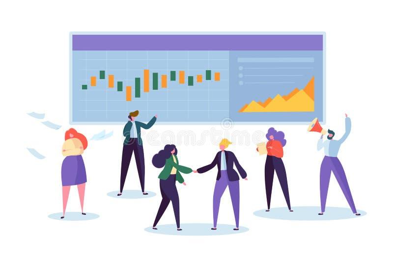 On-line-Geschäftsaktienkurve Analisys-Charakter Diagramm Händler-Sell Business Signals Kpi Mann-Überwachungs-Finanzwährung stock abbildung