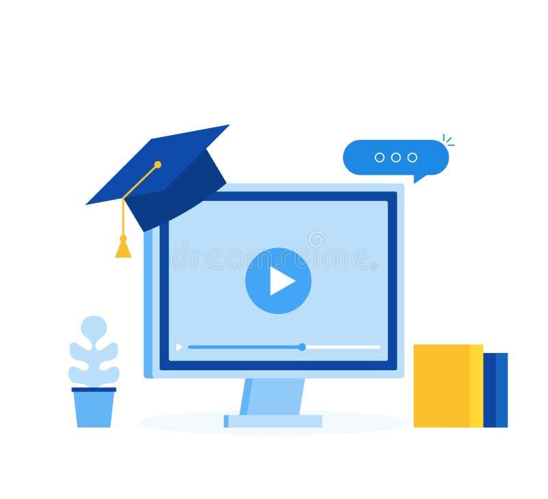 On-line-Geschäftskonzept Learing, Elearningbildungsschablonen-Netzfahne Moderne flache Artvektorillustration vektor abbildung