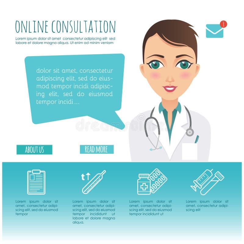On-line-Gesundheitswesendiagnose und medizinischer Berater Netz oder bewegliche Anwendung Vektor infographic Weiblicher Doktor lizenzfreie abbildung