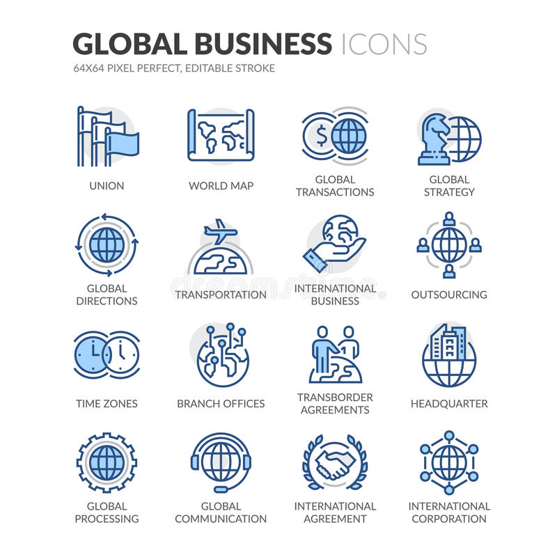 Line Global Business Icons. Simple Set of Global Business Related Color Vector Line Icons. Contains such Icons as Global Strategy, Outsourcing, Agreements and stock illustration