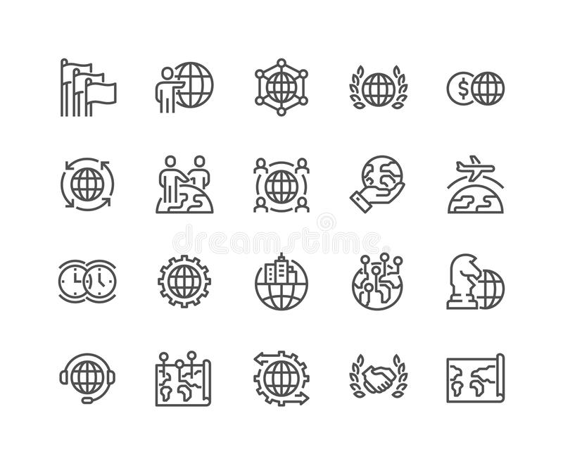 Line Global Business Icons stock illustration