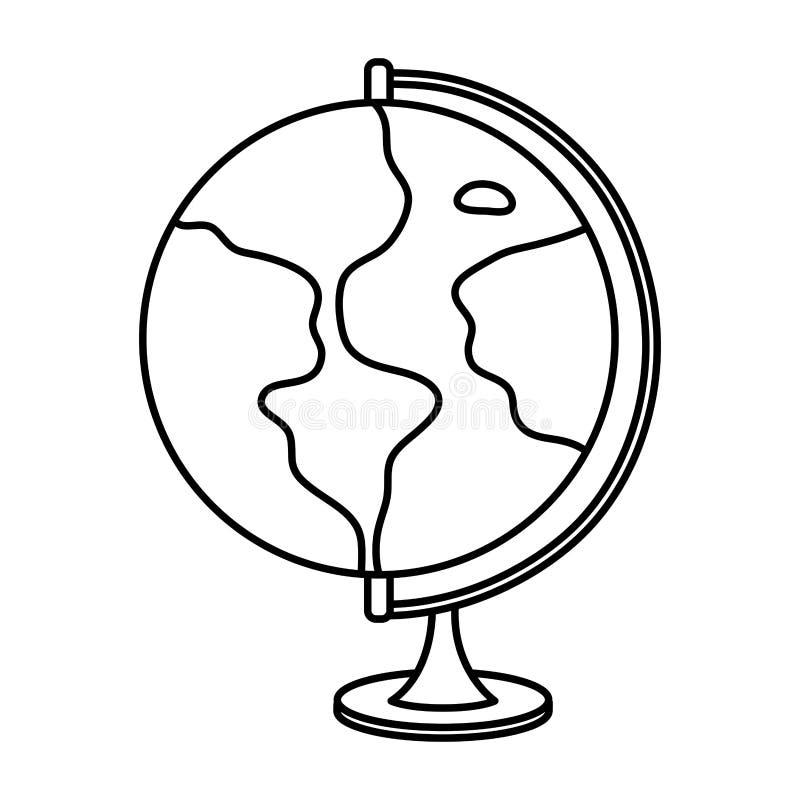 Line global earth planet map desk vector illustration