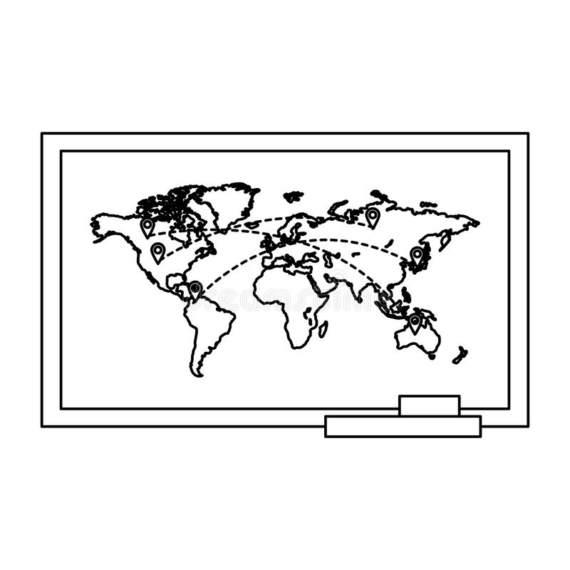 Line global map with locations symbols destinations. Vector illustration royalty free illustration