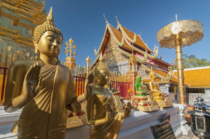 Line of Golden Buddhas at Wat Phrathat Doi Suthep Chiang Mai Thailand stock images