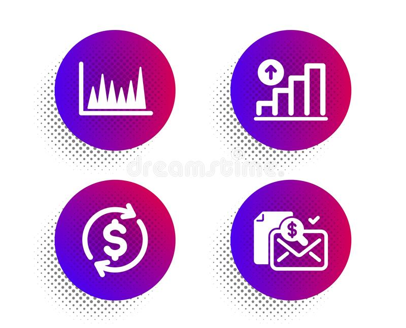 Line graph, Graph chart and Usd exchange icons set. Accounting report sign. Vector. Line graph, Graph chart and Usd exchange icons simple set. Halftone dots vector illustration