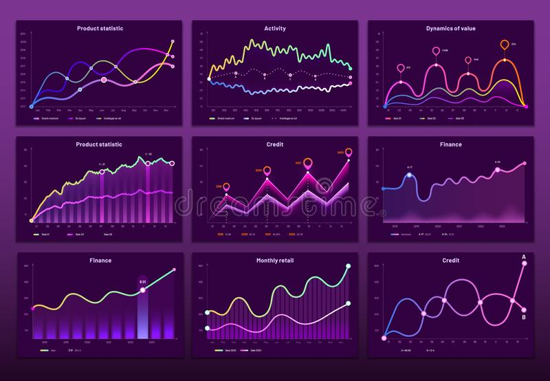 Line graph charts. Business financial graphs, marketing chart graphics and histogram infographic vector set. Line graph charts. Business financial graphs stock illustration