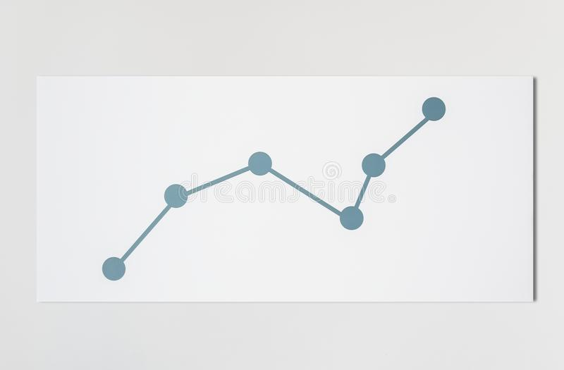 Line graph data analysis in icon royalty free stock photography