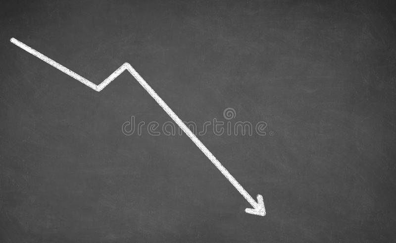 Line graph showing a downward trend royalty free stock photos