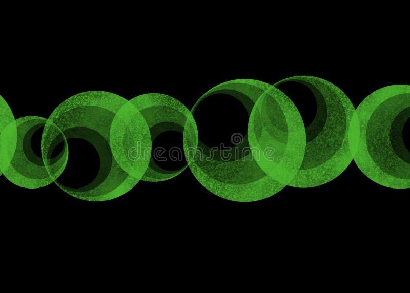 Line of green hypnotic circles on black background stock illustration