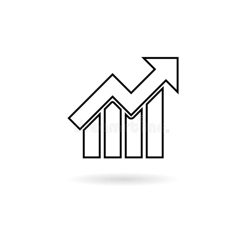 Line Growth chart icon. Simple vector icon on white background vector illustration