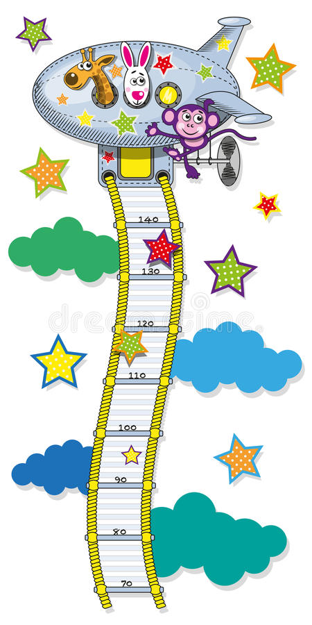 Line growth for children. The range measured by the growth of children in the form of cable ladders leading to the plane. Vector illustration stock illustration