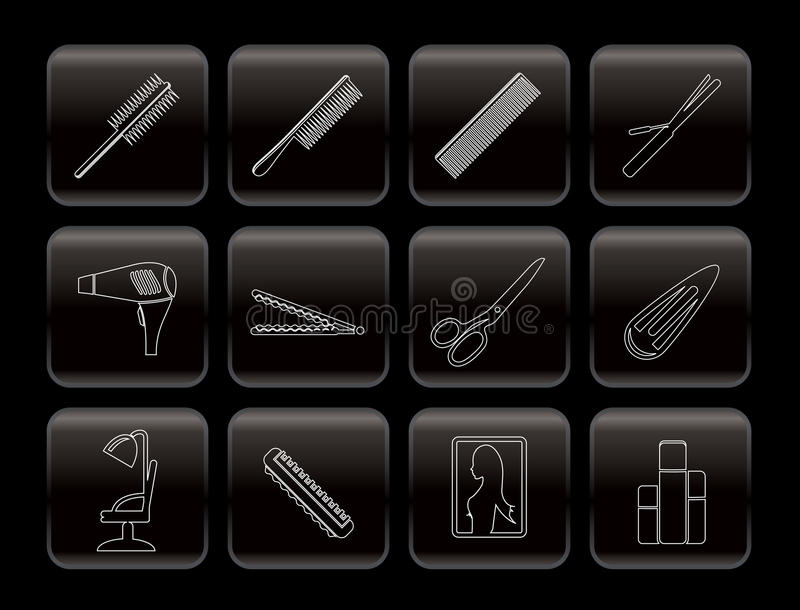 Line hairdressing, coiffure and make-up icons vector illustration