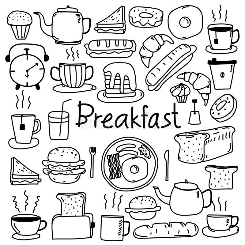 Free Line Hand Drawn Doodle Vector Breakfast Set. Royalty Free Stock Photo - 102572445