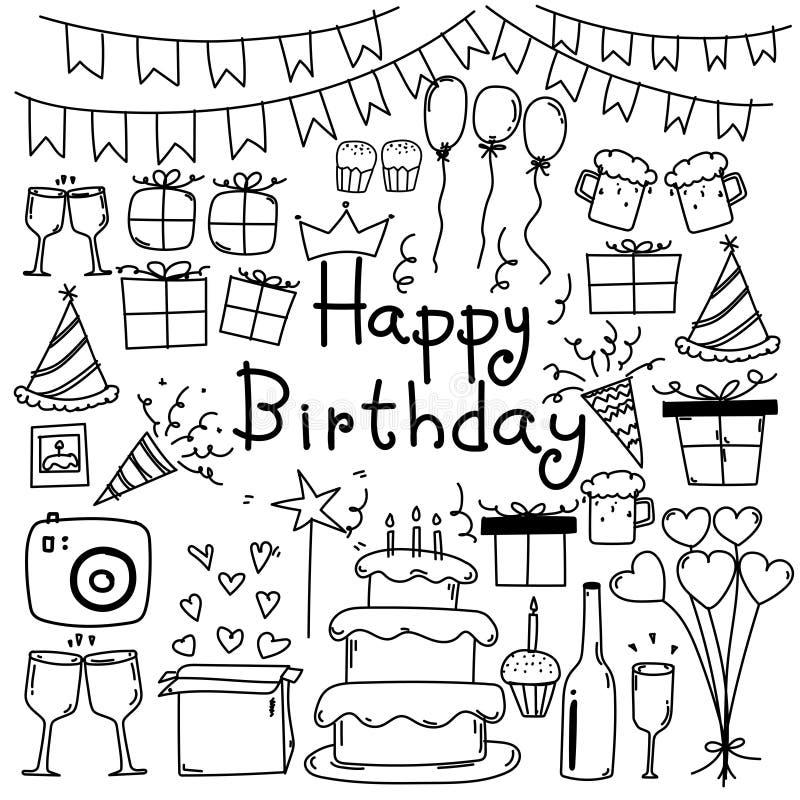 Line Hand Drawn Doodle Vector Happy Birthday Set. stock illustration
