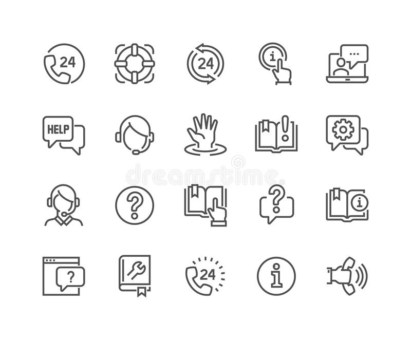 Line Help and Support Icons stock illustration