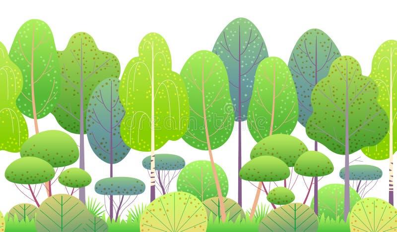 Line Horizontal Seamless Border with SpringTrees stock illustration