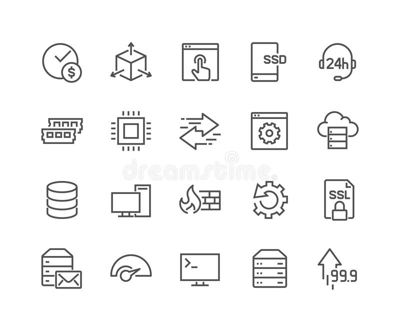 Line Hosting Icons royalty free illustration