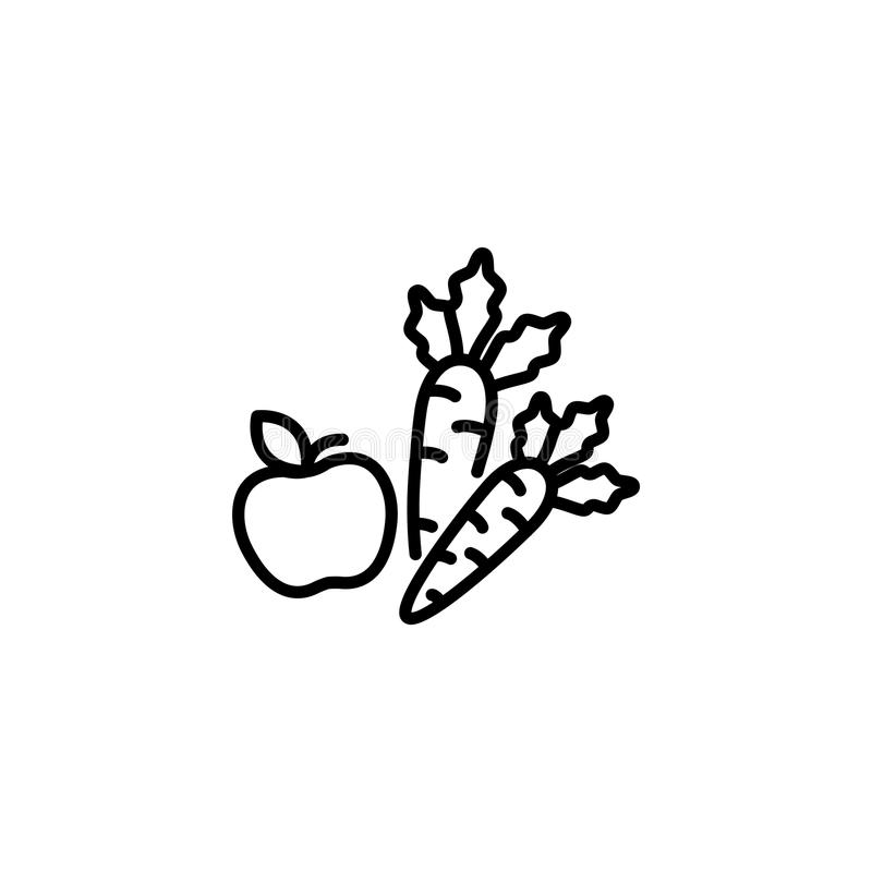 Line icon. Apple and carrot, healthy eating royalty free illustration