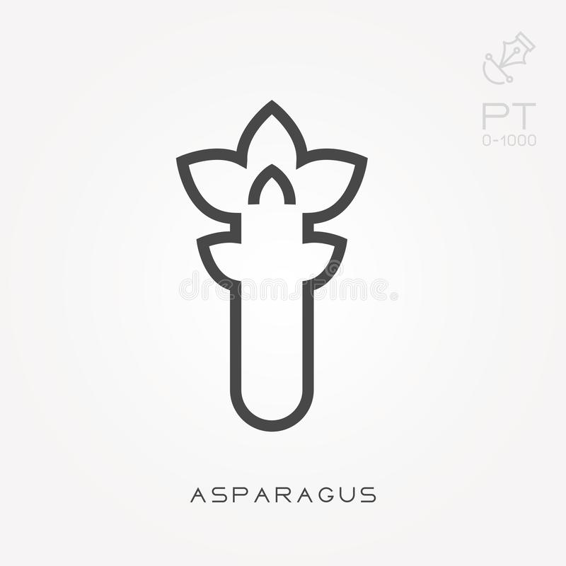 Simple vector illustration with ability to change. Line icon asparagus royalty free illustration