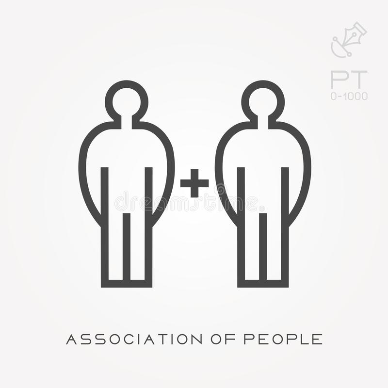 Line icon association of people. Simple vector illustration with ability to change royalty free illustration