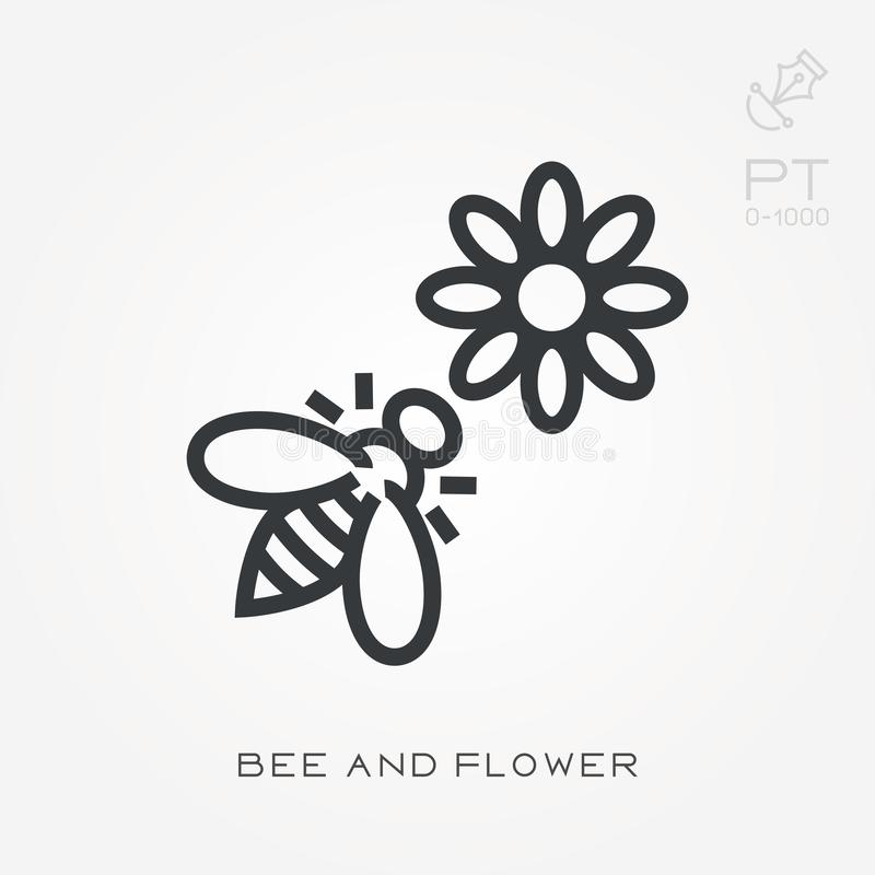 Line icon bee and flower stock illustration