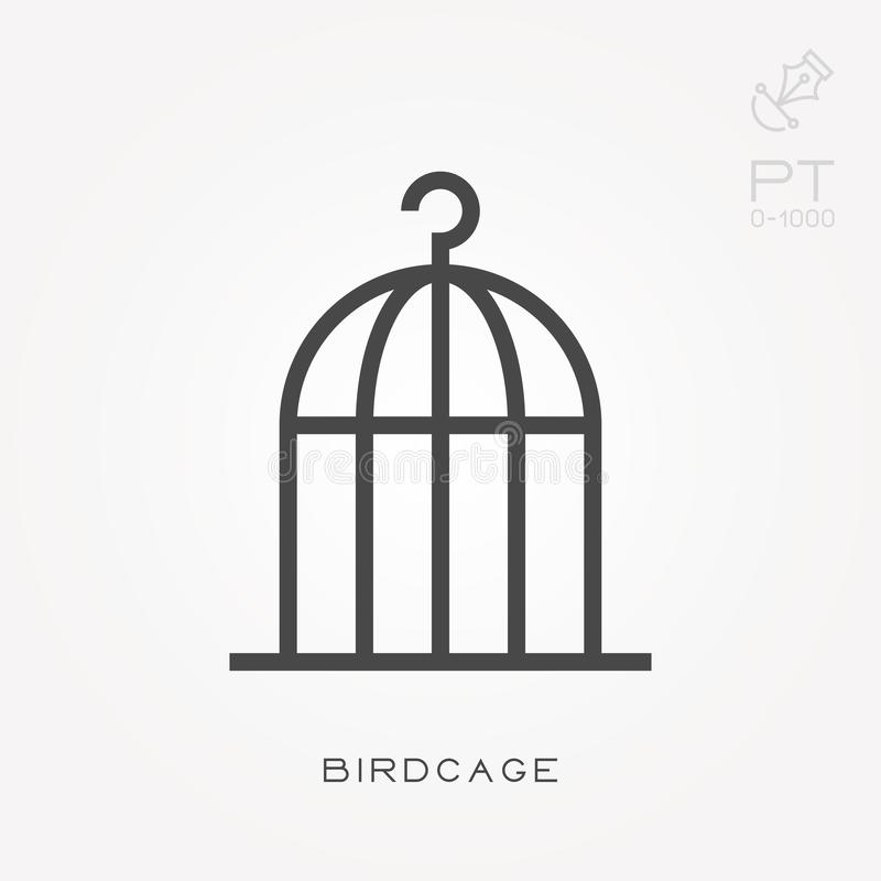 Flat vector icons with birdcage stock illustration