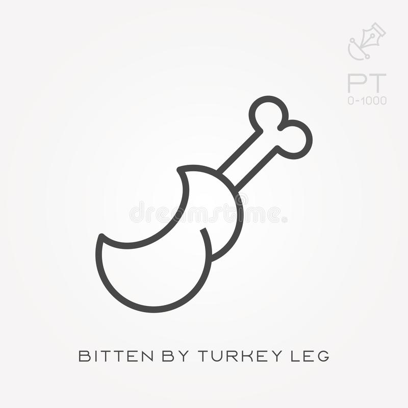 Line icon bitten by turkey leg. Flat vector icons with bitten by turkey leg. With the ability to change the line thickness stock illustration