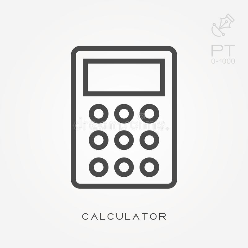 Simple vector illustration with ability to change. Line icon calculator stock illustration