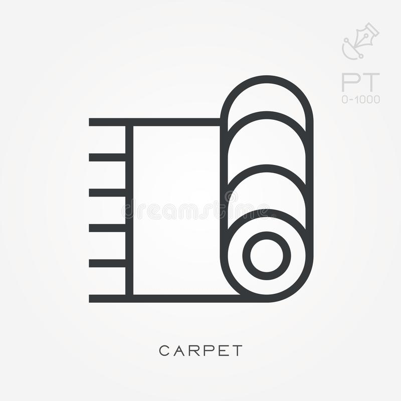 Simple vector illustration with ability to change. Line icon carpet royalty free illustration