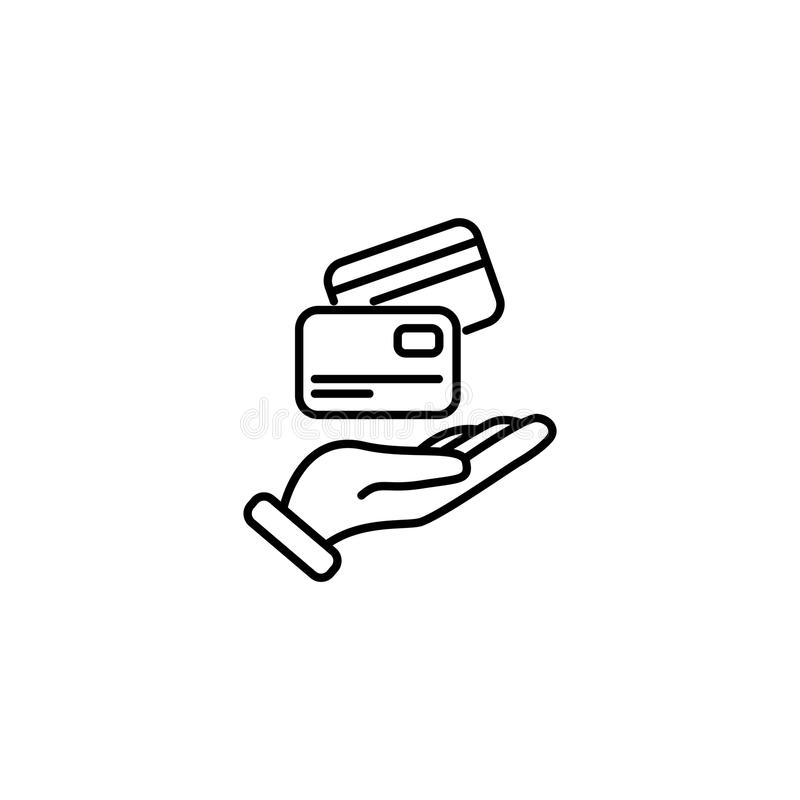 Line icon. Credit card in hand royalty free illustration