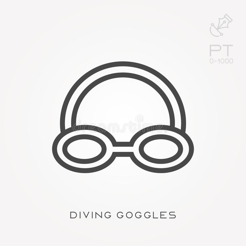 Simple vector illustration with ability to change. Line icon diving goggles royalty free illustration