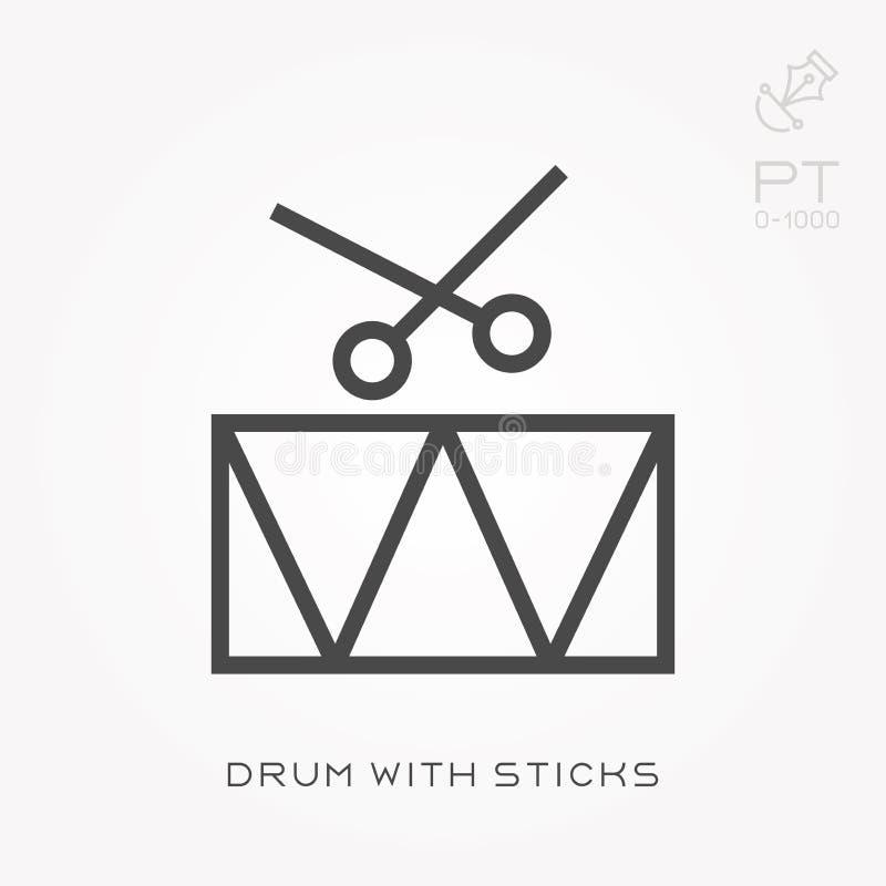 Line icon drum with sticks stock illustration