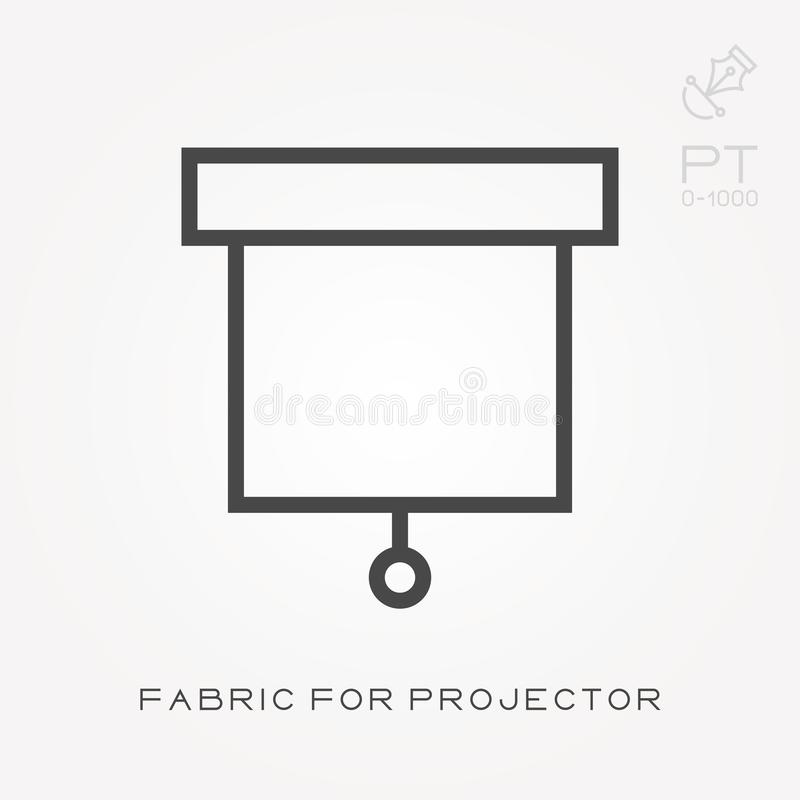 Line icon fabric for projector. Simple vector illustration with ability to change. stock illustration