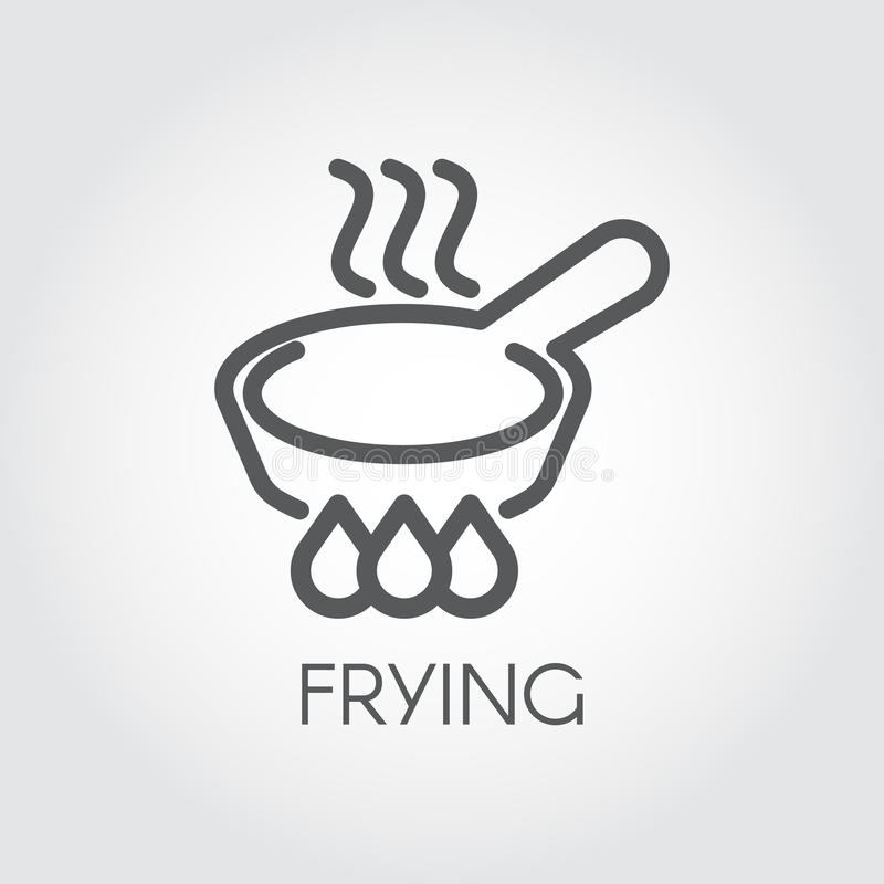 Line icon of frying pan with steam on hob. Graphic culinary, roast outline sign. Vector. Line icon of frying pan with steam on hob. Graphic culinary, roast stock illustration