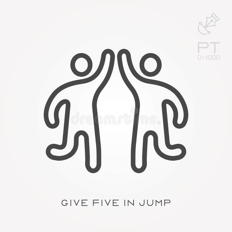 Line icon give five in jump vector illustration
