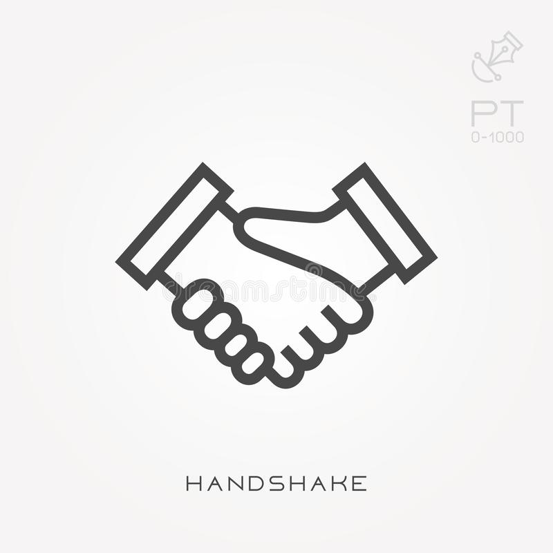 Simple vector illustration with ability to change. Line icon handshake royalty free illustration
