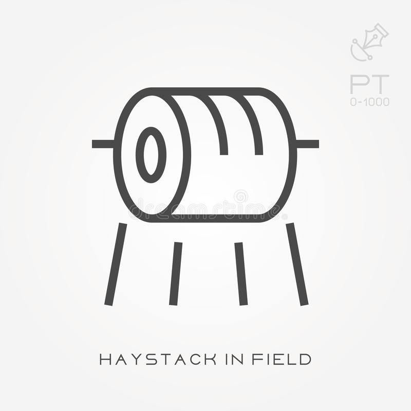 Line icon haystack in field. Simple vector illustration with ability to change royalty free illustration