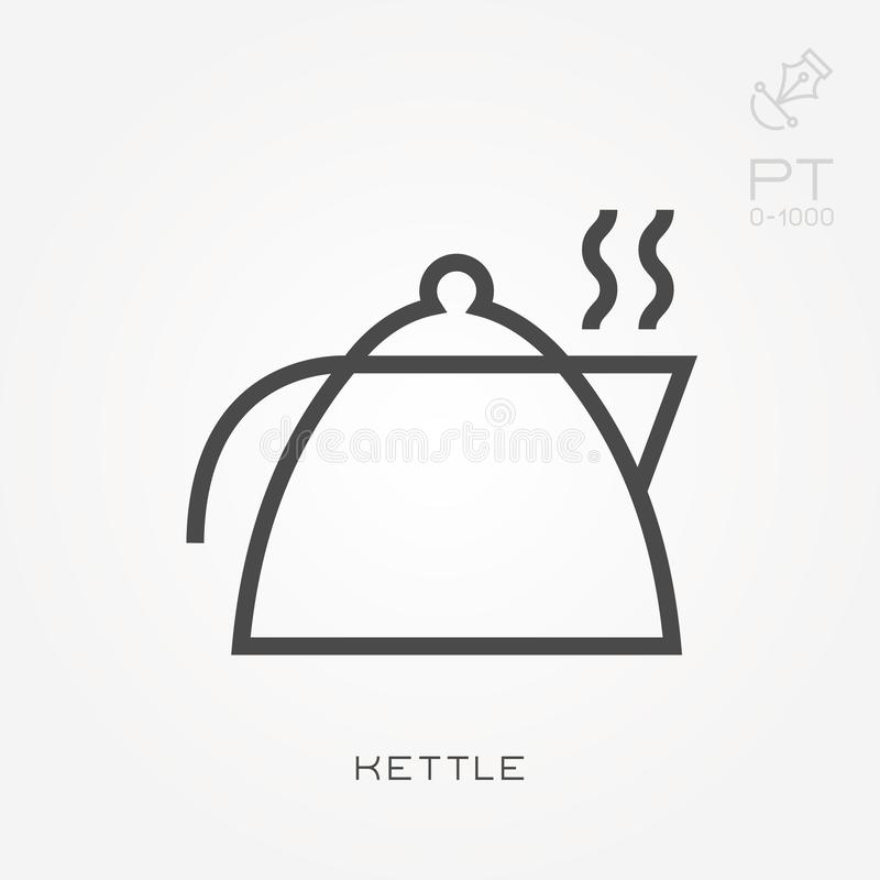 Simple vector illustration with ability to change. Line icon kettle vector illustration