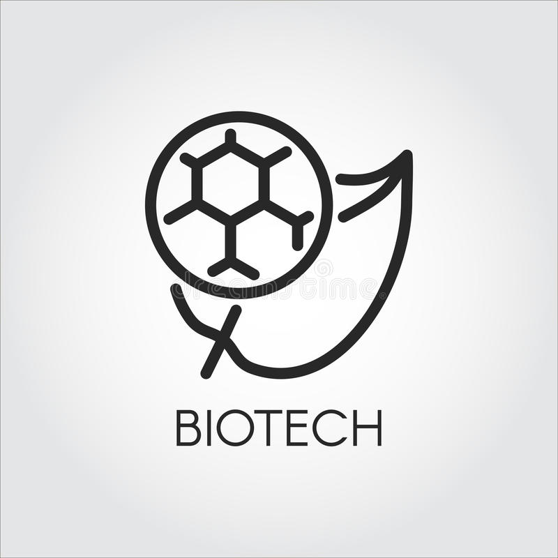 Line icon of leaf and molecule symbolizing biotech. Simplicity black emblem of biotechnology concept. Vector logo royalty free illustration