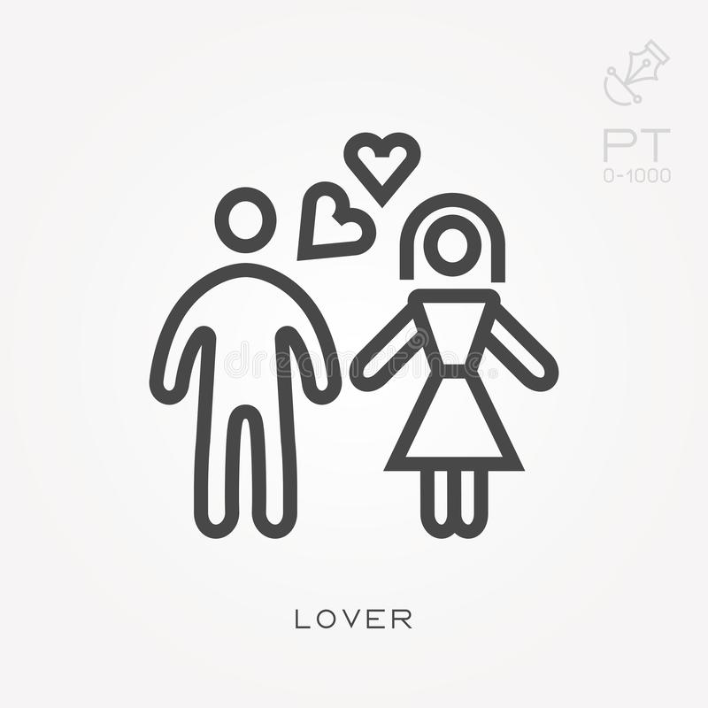 Simple vector illustration with ability to change. Line icon lover. Line icon lover. Simple vector illustration with ability to change royalty free illustration