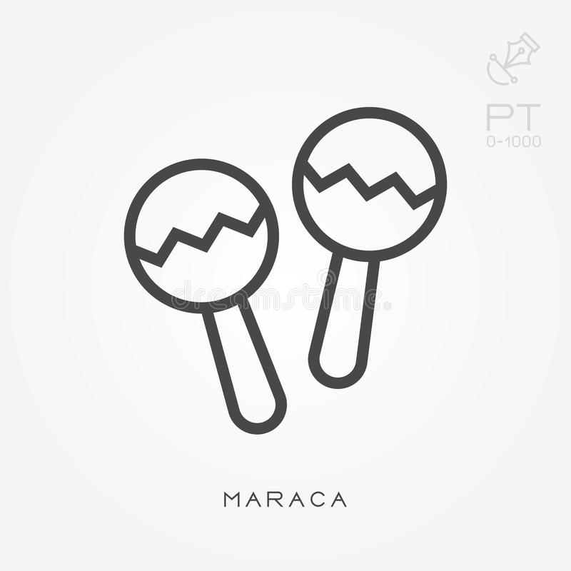 Simple vector illustration with ability to change. Line icon maraca royalty free illustration