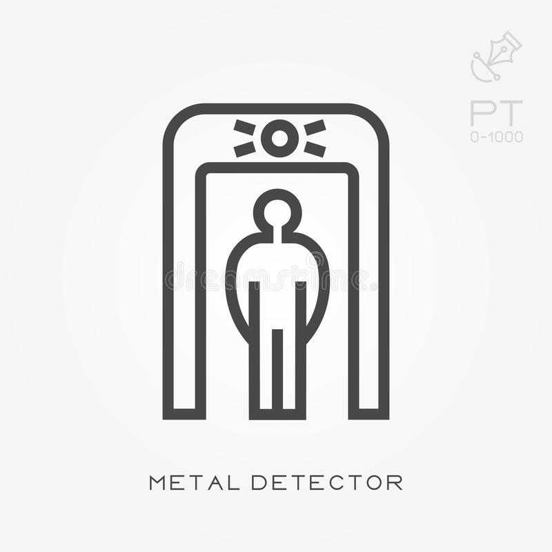 Simple vector illustration with ability to change. Line icon metal detector royalty free illustration