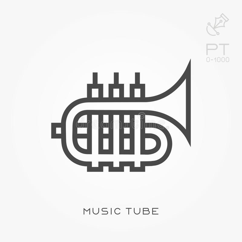 Flat vector icons with music tube. Line icon music tube. With the ability to change the line thickness stock illustration
