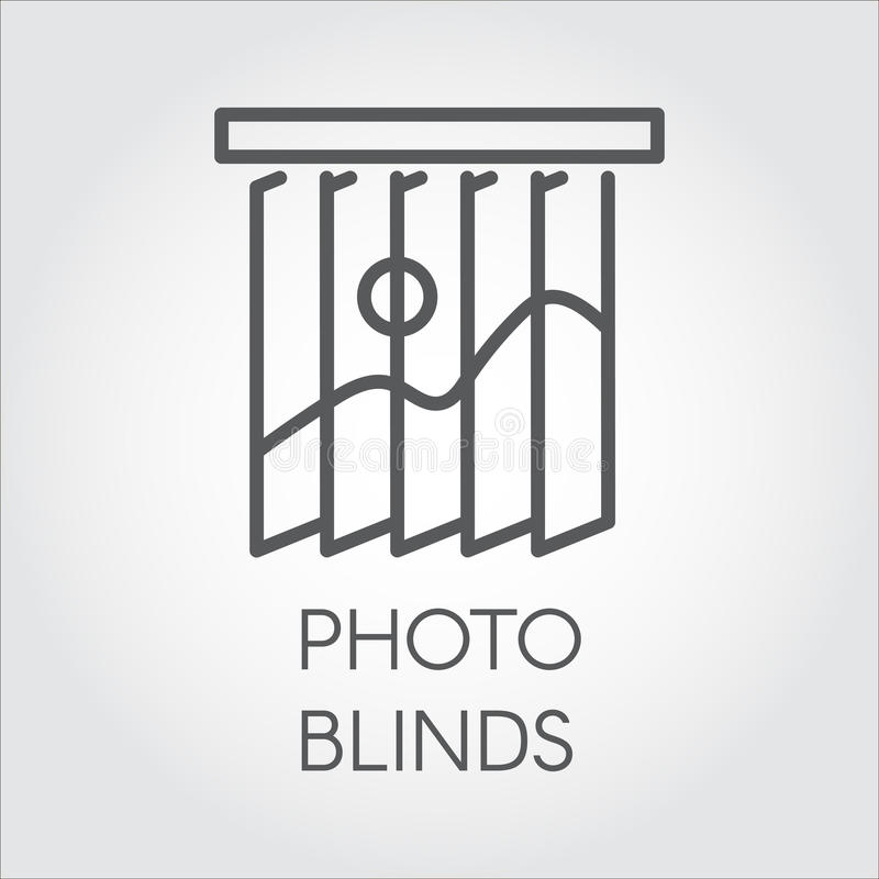 Line Icon Of Photo Blinds. Simple Outline Logo For Different Design Needs.  House Or Office Decor Concept