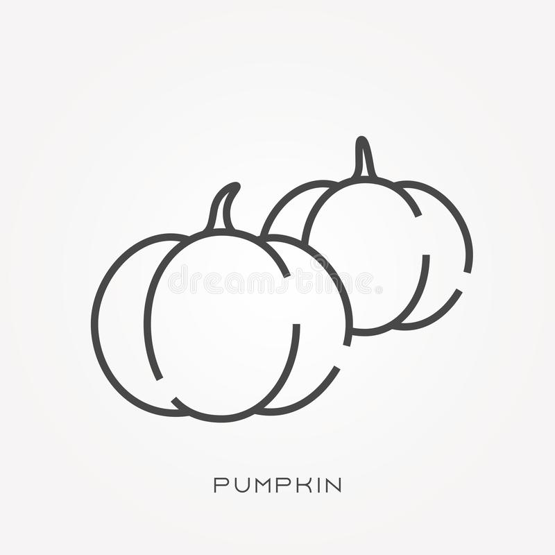 Simple vector illustration with ability to change. Line icon pumpkin royalty free illustration