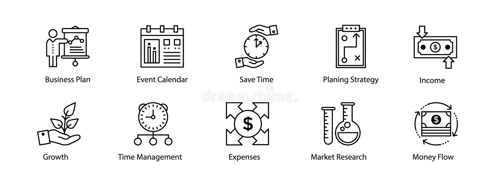 Line Icon of Business and Finance stock illustration