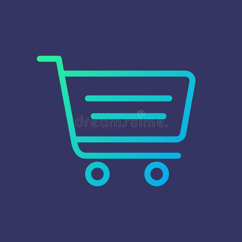Line icon shopping cart in gradient style royalty free stock photos
