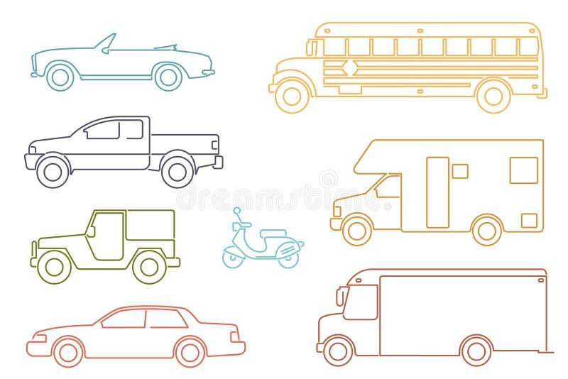 Line Icon Style Transportation and Automotive Symbol Vector Set. Set of eight motor vehicle illustrations, modern line icon style vector illustration