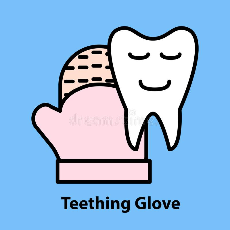 Line icon of Teething Glove. On blue background. Logo concept in linear style. Vector illustration vector illustration