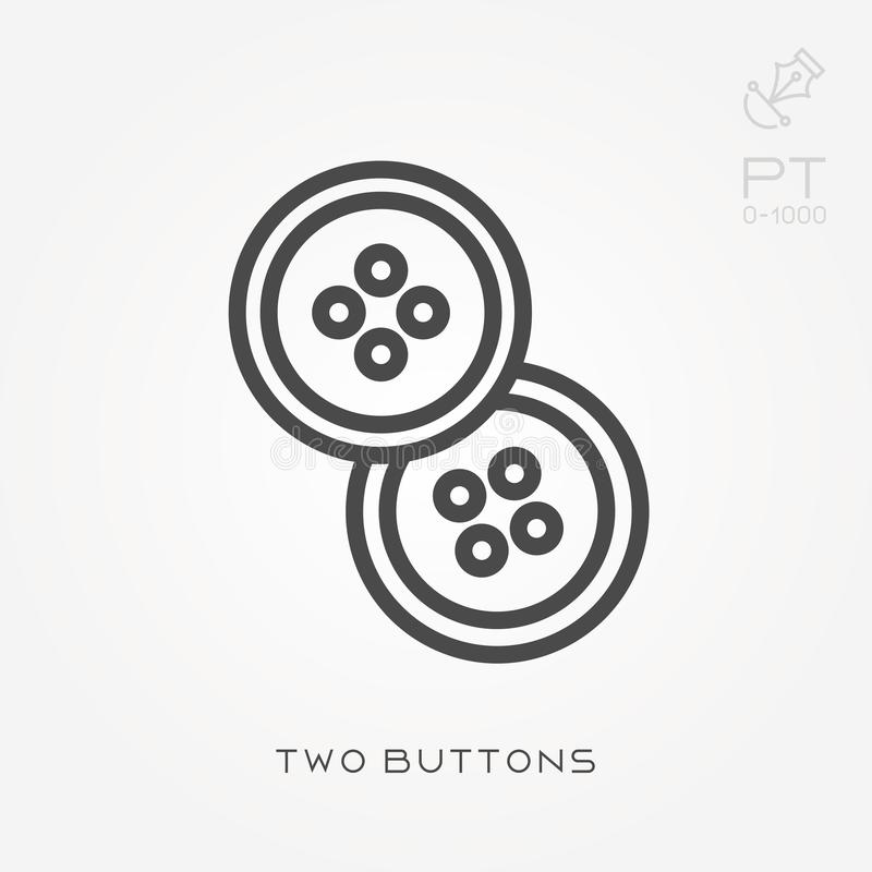 Simple vector illustration with ability to change. Line icon two buttons vector illustration